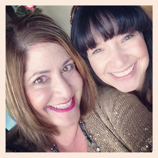 Karen and I share a sparkly moment at Starbucks